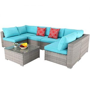 Furnimy 7 PCS Outdoor Patio Furniture Set Cushioned Sectional Conversation Sofa