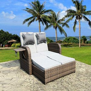 2 PCS Loveseat Outdoor Patio Wicker Rattan Love Seat Sofa Daybed Set