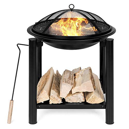 Best Choice Products 21.5in Fire Pit Bowl Table for Patio, Backyard w/Shelf