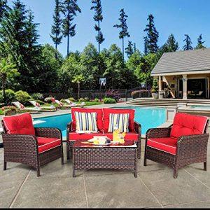 Tangkula 4 PCS Patio Furniture Set, Outdoor Rattan Wicker Sofa Comfortable