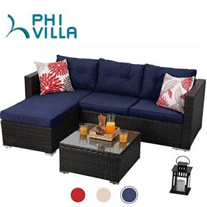 PHI VILLA Outdoor Rattan Sectional Sofa- Patio Wicker Furniture Set