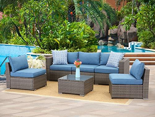 Wisteria Lane 6-Piece Outdoor Furniture Set Modular Wicker Patio Sectional Sofa
