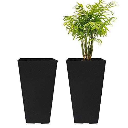 Tall Planters 20 Inch, Flower Pot Pack 2, Patio Deck Indoor Outdoor Garden Tree