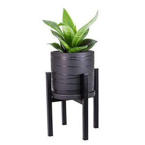 Mid Century Plant Stand and Pot Planter with Drainage - 2 in 1 Metal Plant Stand