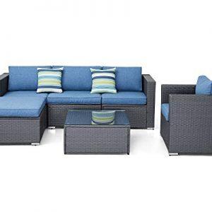 SOLAURA Outdoor Furniture Set 6-Piece Wicker Furniture Modular Sectional Sofa