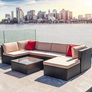 Devoko 7 Pieces Patio Furniture Sets All-Weather Outdoor Sectional Sofa