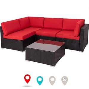 Walsunny Outdoor Black Rattan Sectional Sofa- Patio Wicker Furniture Set