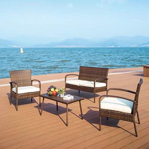 PAMAPIC Outdoor Patio Furniture 4 Pieces Embossing PE Rattan Wicker Sofa
