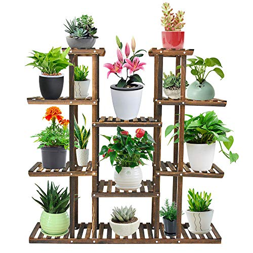 Seeutek 9 Tier Wood Plant Stand Carbonized 17 Potted Flower Pots Organizer