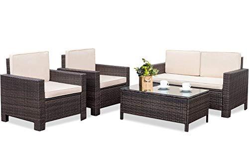 Outdoor Patio Furniture Set, 4pcs Rattan Wicker Sofa Garden Conversation Set