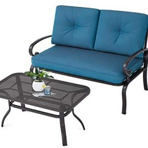 Incbruce Outdoor Patio Furniture Loveseat 2-Piece and Bistro Coffee Table Set