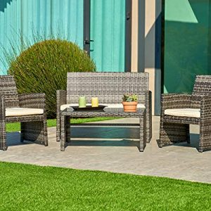 SUNCROWN Outdoor Patio Furniture All-Weather Wicker 4-Piece Conversation Set