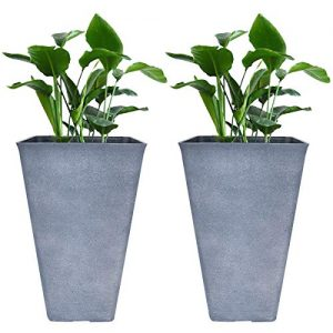 Tall Planters 26 Inch Large Flower Pots Pack 2, Indoor and Outdoor Patio Deck