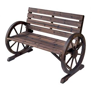 Outsunny Wooden Wagon Wheel Bench Rustic Outdoor Patio Furniture