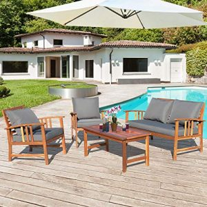 Tangkula 4 PCS Wood Patio Furniture Set, Outdoor Seating Chat Set
