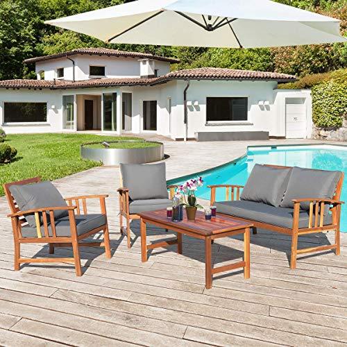 Tangkula 4 PCS Wood Patio Furniture Set, Outdoor Seating Chat Set