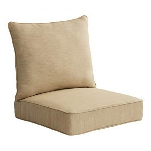 Allen roth 2-Piece Madera Linen Wheat Deep Seat Patio Chair Cushion