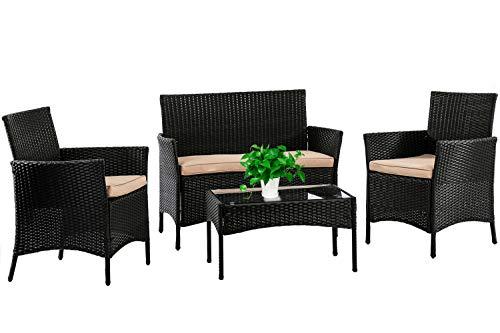 Patio Furniture Set 4 Piece Outdoor Wicker Sofas Rattan Chair Wicker Conversation