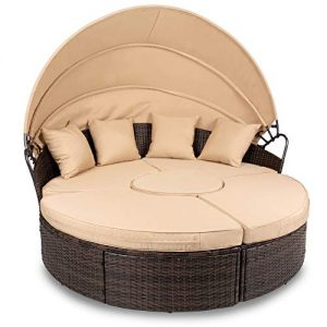 Best Choice Products 5-Piece Outdoor Patio Wicker Daybed Sectional