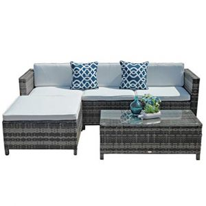 Super Patio Outdoor Patio Furniture Set, 5pc PE Wicker Rattan Sectional Furniture Set