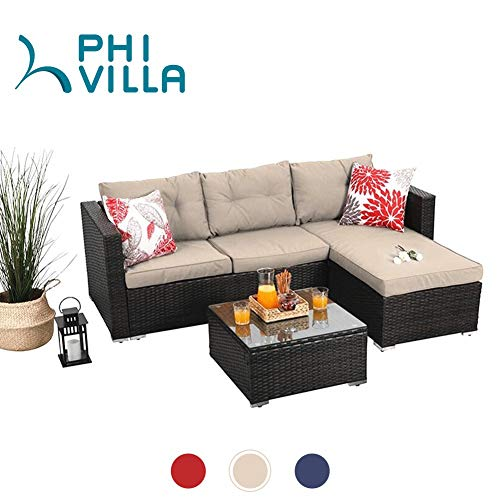 PHI VILLA Outdoor Sectional Rattan Sofa - Wicker Patio Furniture Set