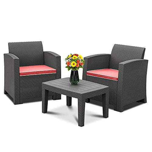 Bonnlo 3pcs Garden Furniture Set with Washable Seat Cushions