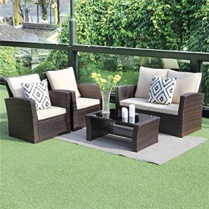 Wisteria Lane 5 Piece Outdoor Patio Furniture Sets, Wicker Ratten Sectional Sofa