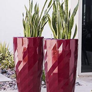 XBrand Nested Plastic Self Watering Indoor Outdoor Diamond Look