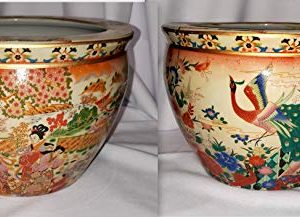 "14"" Oriental 2 Scene Geisha & Peacock Bird Fish Bowl Jardiniere Planter Plant Pot"