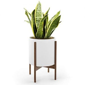 Mid Century Plant Stand with Pot with Drainage - Matte White Ceramic Indoor