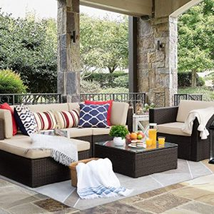 Flamaker 6 Pieces Patio Furniture Set Outdoor Sectional Sofa Outdoor Furniture Set
