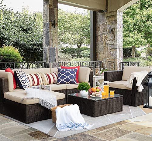 Flamaker 6 Pieces Patio Furniture Set Outdoor Sectional Sofa Outdoor Furniture Set