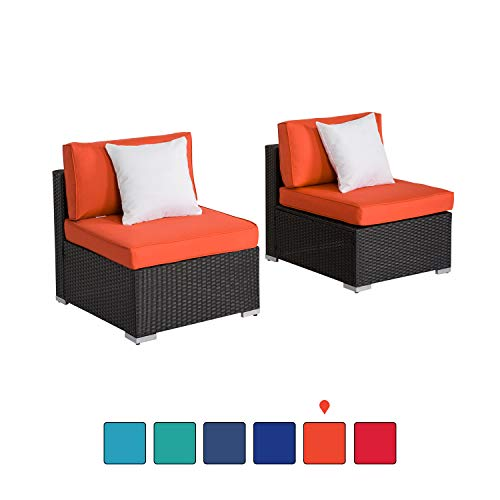 Peach Tree Outdoor Loveseat 2 PCs Patio Furniture Set, Wicker Armless Sofa