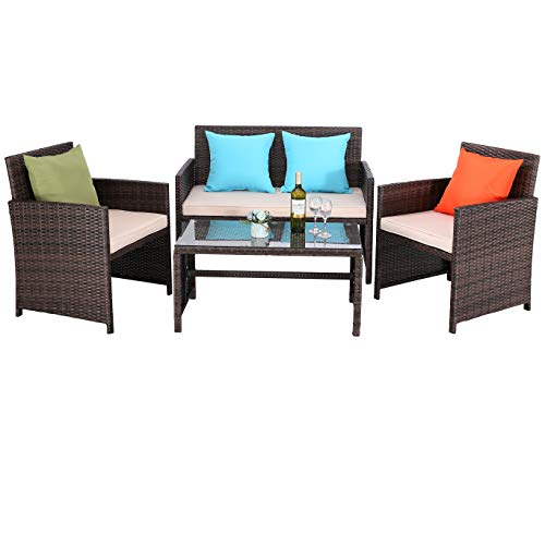 Do4U Outdoor Patio Furniture Set 4 Pcs PE Rattan Wicker Garden Sofa and Chairs
