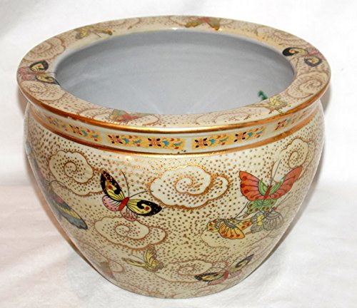 "New 14"" Oriental Colorful Butterflies Butterfly Themed Fish Bowl Jardiniere Planter"