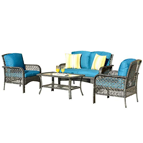 ovios 4 PCs Patio Furniture Sets All Weather Water-Resistant and UV Resistant
