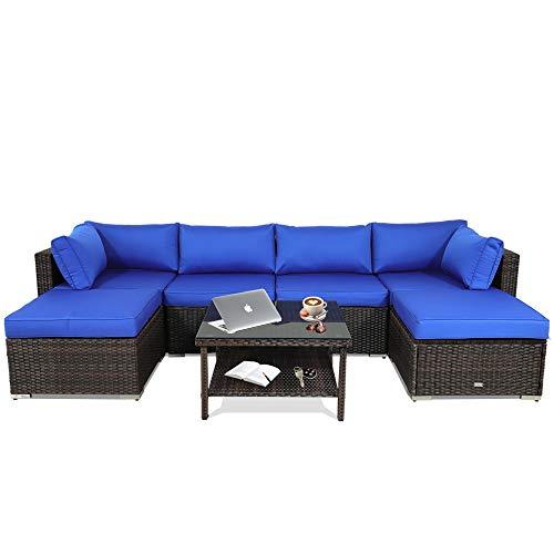 Patio Furniture 7-Piece Brown PE Rattan Sofa Conversation Set Royal Blue Cushion