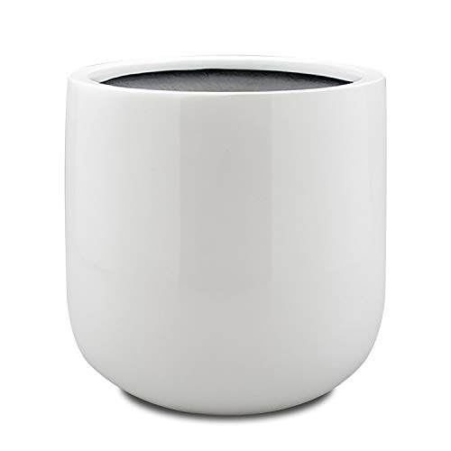 Vase Source Shiny White Round Planter - Round Bottom Fiberglass Flower Pot