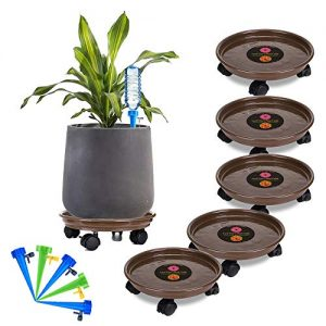 Murilan Round Flower Mover Potted Stand with Wheels 5 Pack Plant Caddy