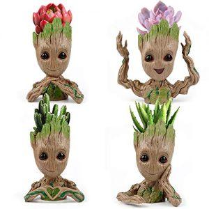 IKAYAS 4 Pack Treeman Baby Groot Flower Pot Groot Succulent Planter Pot Cute
