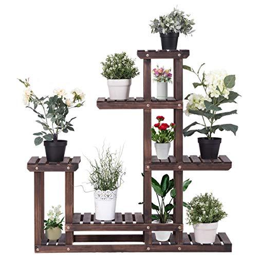 GOFLAME Plant Stand Rack Indoor & Outdoor, Wood Plant Display Rack