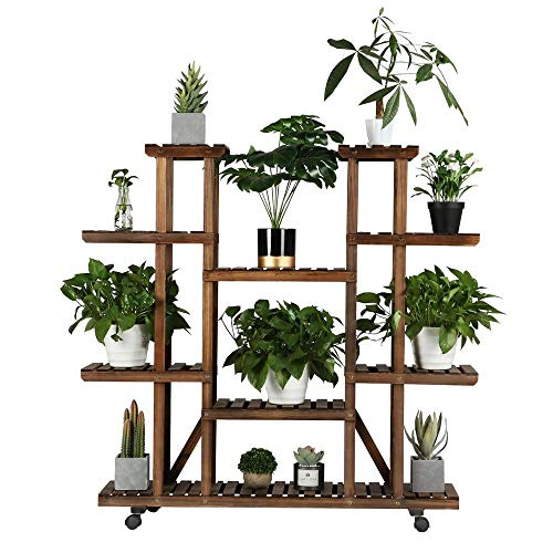 Yaheetech Plant Stand Shelf Indoor - 6 Tier Tiered Wood Plant Flower Pots