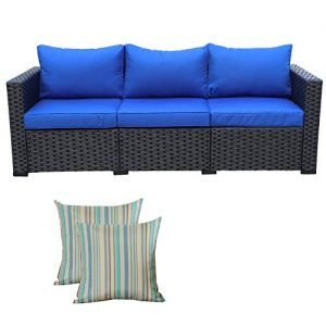 3-Seat Patio PE Wicker Sofa - Outdoor Rattan Couch Furniture w/Steel Frame