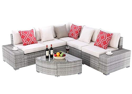 Do4U 6 Pieces Outdoor Patio Furniture Sectional Conversation Set