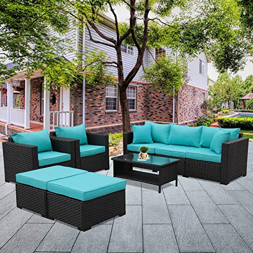Patio Wicker Furniture Set 6 Piece Outdoor PE Rattan Conversation Couch Sectional