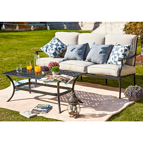LOKATSE HOME 3 Seat Metal Patio Loveseat Bench Outdoor Furniture Bistro Set