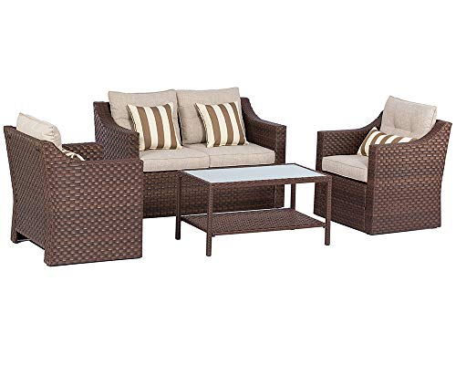 SOLAURA Outdoor Fully Woven 4-Piece Conversation Furniture Set