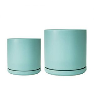 Aqua Ceramic Planter Set of 2 | 8 Inch and 10 Inch Planter Pot, Plant Pots