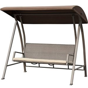 PatioPost Porch Swing Outdoor Lounge Chair Seats 3 Patio PE Wicker Glider Bench