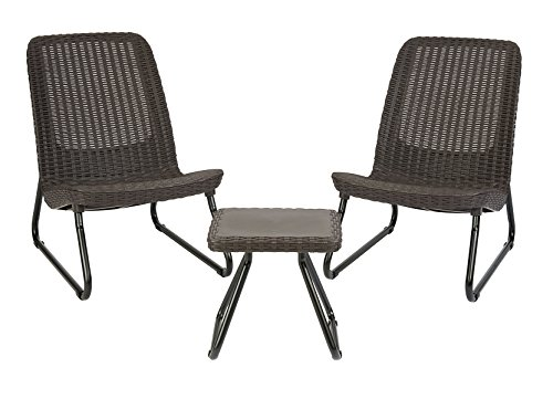 Keter Rio 3 Piece Resin Wicker Furniture Set with Patio Table and Outdoor Chairs, Whiskey Brown